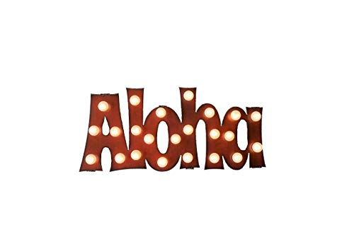 Aloha Lighted Marquee Sign made out of Rusted Steel ()