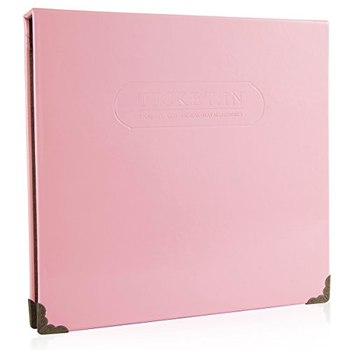 Woodmin 100 Pockets Leather Ticket Stub Album for Sports,Movie,Concert, Banknote Bill Collect Book (Baby Pink)