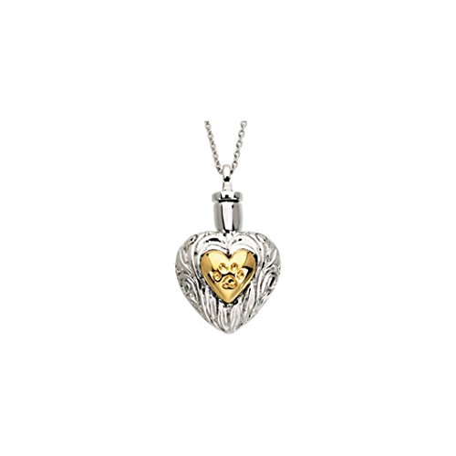 SVJDirect Heart Shaped Cremation Urn Ash Holder Heart Shaped Pet Paw Necklace ()