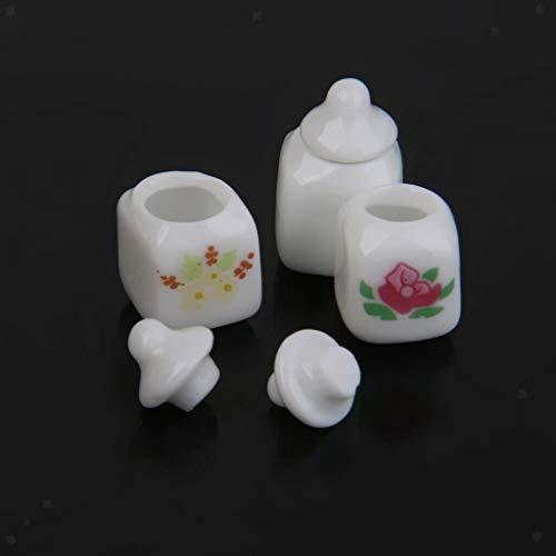 NATFUR 3pcs Cute Dollhouse Miniature Ceramic Canister Jar Doll Mini Food Contain