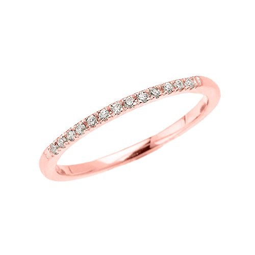 14k Rose Gold Dainty Diamond Stackable Ring(Size 4.5)