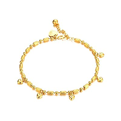 Hot KnBoB Anklet Women Gold Plated with Pendant Hearts Square Beach Barefoot Foot Chain Gold supplier