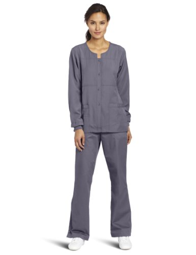 Solid Pewter Button - WonderWink Women's Scrubs Four Way Stretch Sporty Snap Jacket, Pewter, X-Large