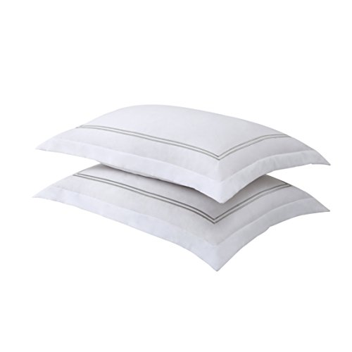 Levinsohn Textile FRE27502SILV07 Luxury Hotel Tailored Pillow Sham with Baratta Stitched Hem (2 Pack), Standard, White/Silver