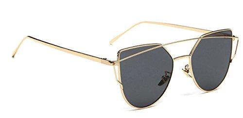 WebDeals - Cat Eye Mirrored Metal Frame Flat Lenses Crossbar Womens Sunglasses (Gold, Smoke - Sunglasses Metal Heavy