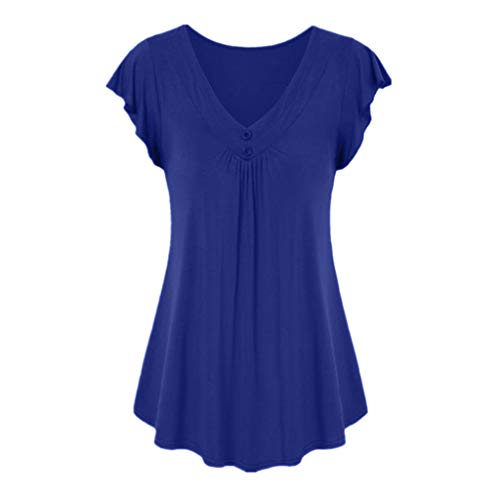 Keliay Womens Tops for Summer,Women's Fashion Casual Summer Sexy Solid Color V-Neck Short Sleeve Shirt Cotton Blue