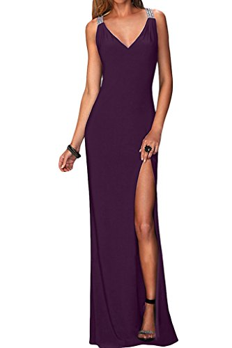 sessualmente Promkleid fessura di uva da partito vestito Donne v Chiffon vestito sera lungo scollatura Ivydressing Fxw8ntqTH4