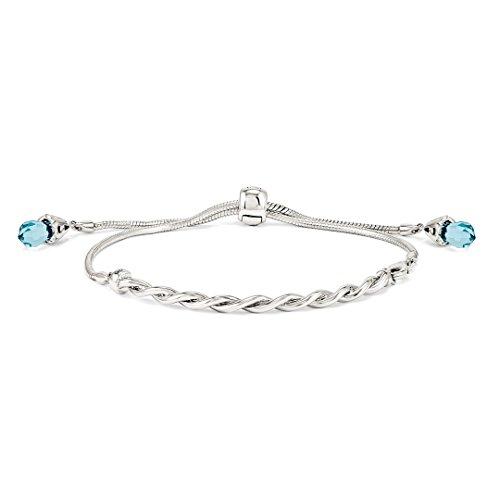925 Sterling Silver Reflections Blue Swarovski Crystal Adjustable Bracelet 9 Inch Stretch Wrap Fine Jewelry For Women Gift Set