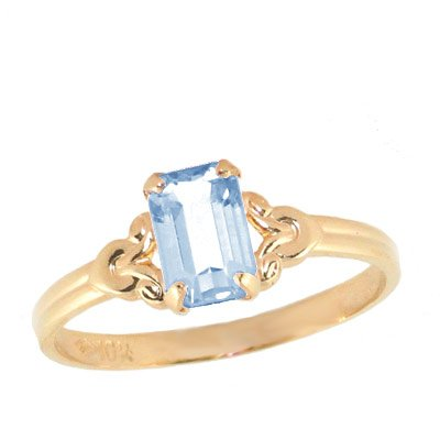 Girls Jewelry - 10K Yellow Gold Simulated March Birthstone Ring (size 4)