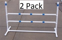 2 Pack of Agility Gear HD Fixed Base Practice Jumps - Two Striped 48'' Jump Bars on each Jump