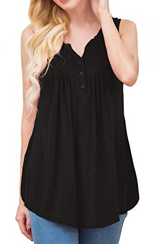 - Halife Women's Henley Shirt Sleeveless Button V-neck Pleated Tunic Tank Tops (M, Black)