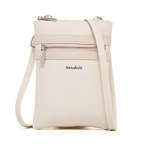 AnnabelZ Small Crossbody Bag Mini Cell Phone Purse Wallet Shoulder Bag For Women (Beige)