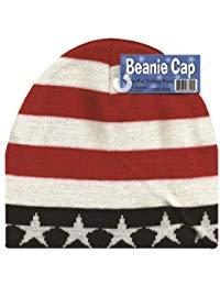 (Beanie Cap USA Patriotic American Flag Stripes Winter Skull Cap)