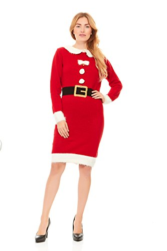 Just One Women's Santa Costume Ugly Sweater Dress Christmas Plus Size (Mrs. Claus, 3X) Plus Size Womens Christmas Costumes