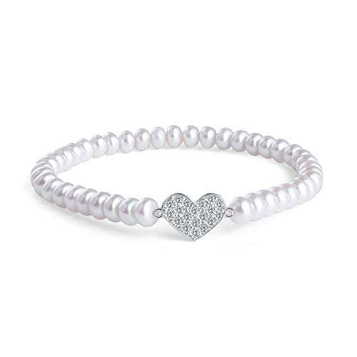 MOLAH Rhodium Plated 925 Silver 5-5.5mm White Centre-drilled Button Cultured Freshwater Pearl Cubic Zirconia Heart Stretch 7