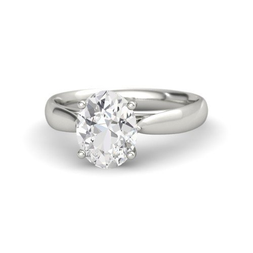 Oval White Sapphire Platinum Engagement Ring â€