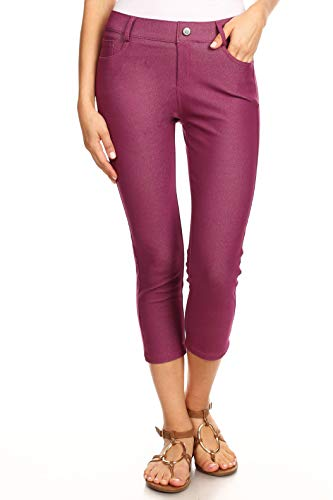 ICONOFLASH Women's Plum 5 Pocket Capri Jeggings - Pull On Skinny Stretch Colored Jean Leggings Size Small ()