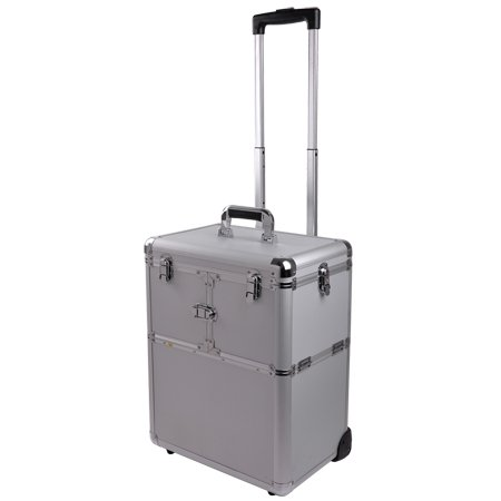 Makeup Case, Cosmetic Case. Professional Rolling Makeup Train Case in Diamond Silver. Aluminum Utility Case with Extendable Trays and Adjustable Dividers to Organize and Transport Make-Up Brushes, Tools and Accessories, Bags Central