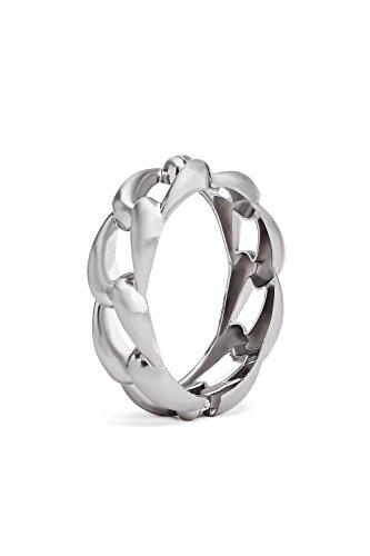 Link Chunky Bracelet (Chunky Chain Bracelet Wrap Hinge Cuff Bangle Curb Link Statement Metal Wristband (matt silver))