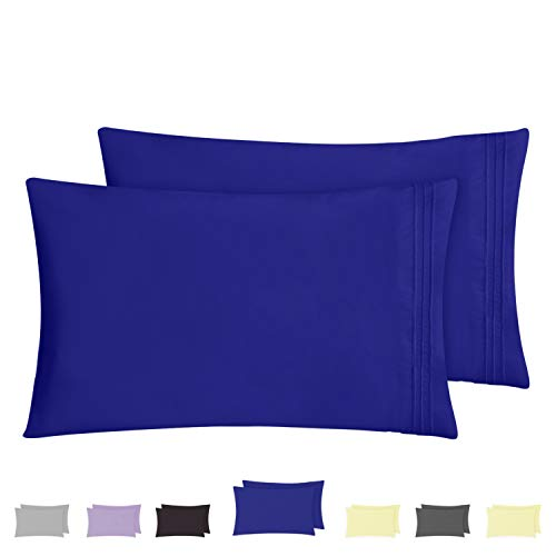 HOMEIDEAS Pillow Cases (Queen, Sapphire Blue) - 100% Brushed Microfiber, Ultra Soft - Envelope Closure End - Wrinkle, Fade, Stain Resistant - Set of 2