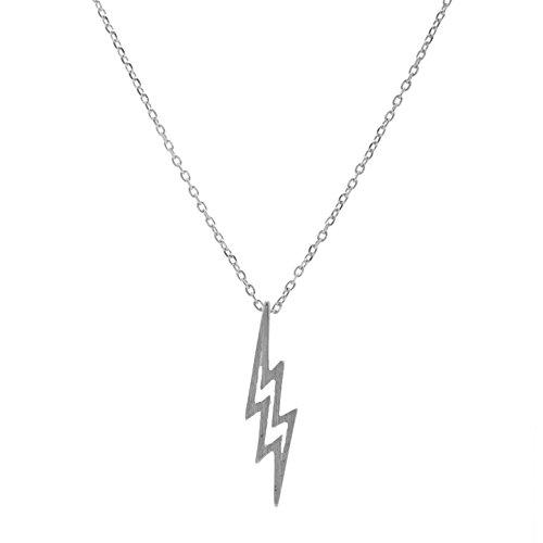 Matte A-bolt (chelseachicNYC Handmade Lightning Bolt Necklace Matte Silver)