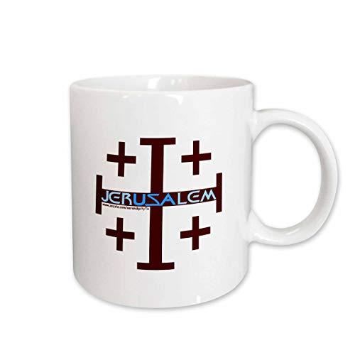 3dRose Jerusalem Cross Ceramic Mug, 15-Ounce