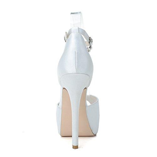 Jiame Womens Peep Toe Platform Tacchi Pompe Cinturini Alla Caviglia Fibbia In Raso Festa Di Nozze Sandali Prom Partito Bianco