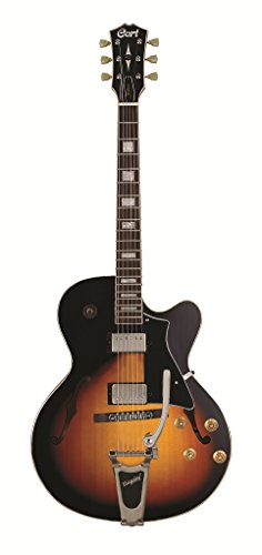 Cort YORKTOWNBVTAB Hollow Body Single Cutaway Electric Guitar Spruce Top, Bigsby Vibrato, Tobacco Burst