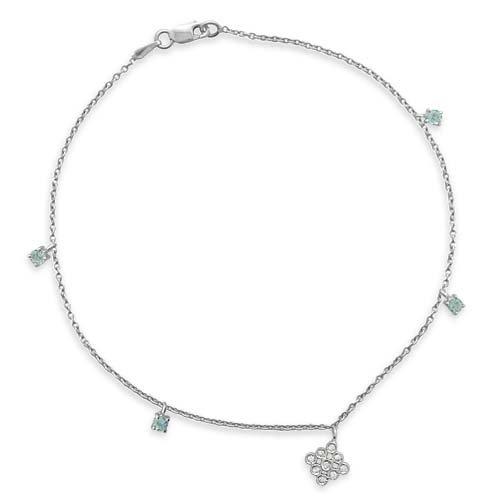 Superstar Chaîne de Cheville Femme en Or 18 carats Blanc avec Diamant H/SI (total diamants 0.07 ct) et Aigue-marine, Cm 23, 2.8 Grammes