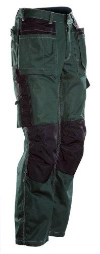 JOBMAN Workwear Men's Silverline Heavy Duty Cotton Workpants Green/Black 36X32