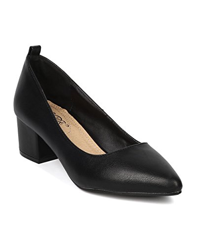 Leatherette Women Pump Black Chunky DBDK GD42 Toe Heel Pointy 5Rq5wFd
