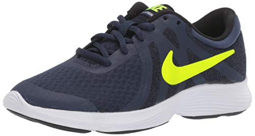 (Nike Boy's Revolution 4 (GS) Shoe, Midnight Navy/Volt - Black - White, 5Y Youth US Big Kid)