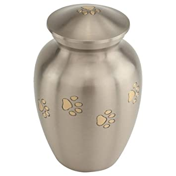 Silverlight Pewter with Gold Paw Prints Pet Urn Medium- Urn for Cat or Small Dog Ashes, Grey, Gray Brass Urn for Animal, 5.75 Inches High