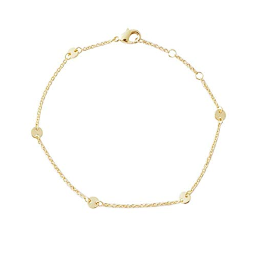 (HONEYCAT Milky Way Disc Chain Bracelet in Gold, Rose Gold, or Silver | Minimalist, Delicate Jewelry (Gold))