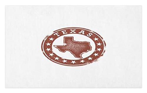 Lunarable Texas Doormat, Classical Rubber Stamp of Western Cowboy Country State Map Stars Dallas Houston, Decorative Polyester Floor Mat with Non-Skid Backing, 30 W X 18 L Inches, Cinnamon White -