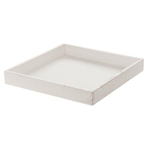Holztablett TRAY - weiß - 40x40 cm - shabby-chic - Kerzenteller