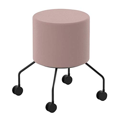 Round Leather Dressing/Makeup Stool with Wheels, Sitting Stool Side Table with Velvet Fabric, Unique Shoe Bench for Living Room, Bedroom. Sofa Side Corner (Color : Pink)