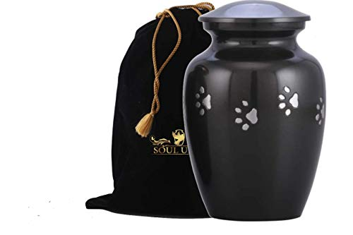 SOULURNS - Black Pet Urn with Horizontal Pewter Paw for Dogs Ashes and Cats - Quality Urn for Dog or Cat -6 Inch Tall Holds Remains Upto 40 Lbs - Include Velvet Bag ()