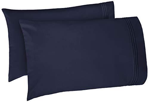 - AmazonBasics Premium Soft, Easy-Wash Microfiber Embroidered Hotel Stitch Pillowcase Set  - Standard, Navy Blue
