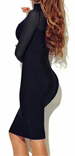 Manica Bodycon Vedere Womens Abito Giuntura Clubwear Attraverso Cruiize Nero Lunga 5CF1nx8wCq