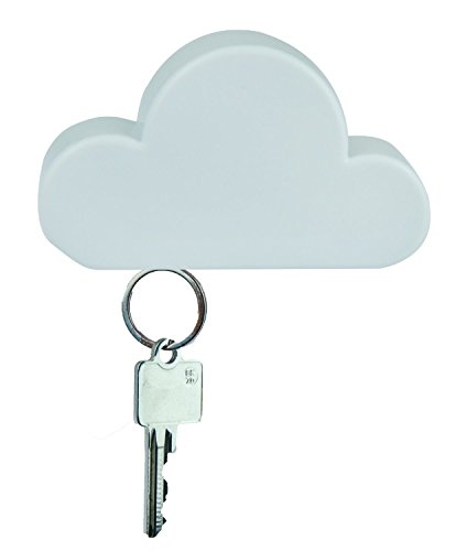 TWONE White Cloud Magnetic Wall Key Holder - Novelty Adhesive Cute Key Hanger Organizer, Easy to Mount - Powerful Magnets Keep Keychains and Loose Keys Securely in Place