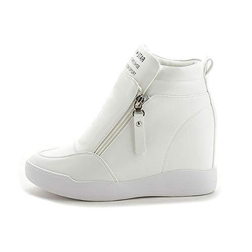 (DOSOMI Women Wedges Sneakers Zipper Hidden Ankle Boots High Top Autumn Fashion Casual Wedges Sneakers)