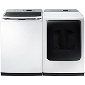 SAMSUNG ACTIVEWASH SPECIAL!-Mega-Capacity HE Top Load Laundry System with Matching GAS Dryer in Pure White Finish (WA50K8600AW+DV45K7600GW)