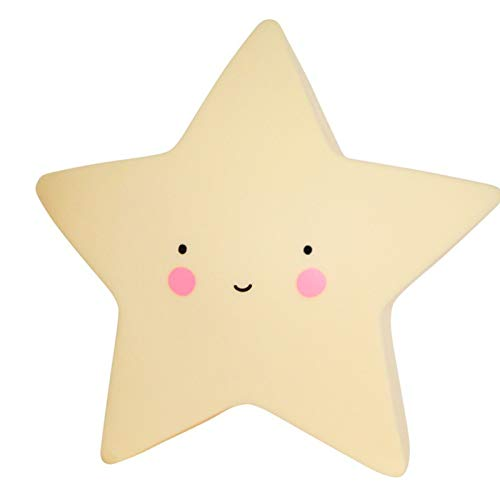 Yellow Star Head LED Night Light Baby Nursery Party Bedroom Desk Table Lamps for Kids Gift Toys (Yellow Star)