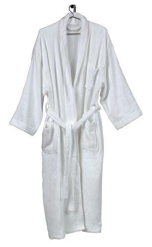 White Cotton Bath Robe / Luxury Spa Robe / Cotton Terry Bathrobe for Women & Men (One Size M/L (10-14)