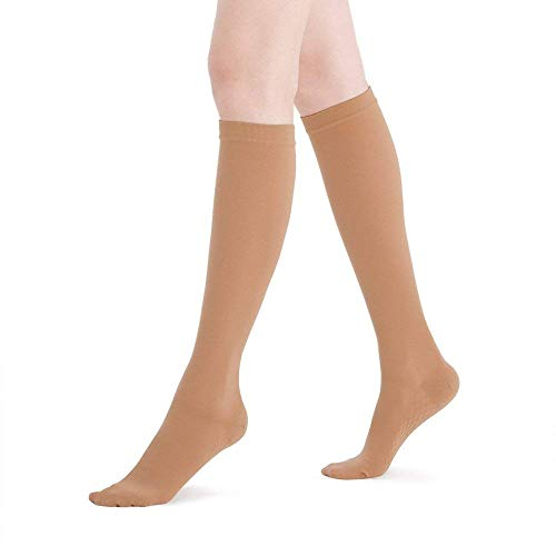 Fytto 2120 Closed-Toe Women's Compression Socks, 20-30 mmHg Graduated Support - Firm Medical Hosiery for Varicose Veins, Lymphedema, and DVT, Knee High, Nude, Large