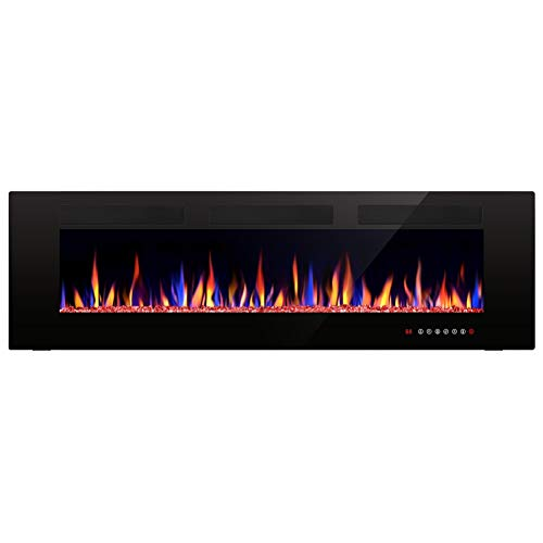 """Joy Pebble Electric Fireplace, in-Wall Recessed and Wall Mounted 750/1500W Fireplace Heater, Touch Screen, Remote Control with Timer, Black (60"""") Uncategorized"""
