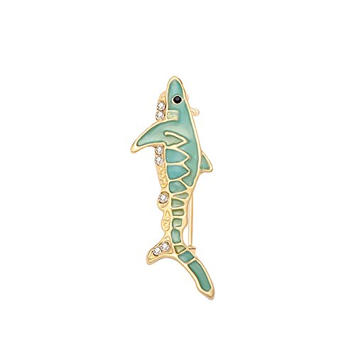 TUSHUO Black CZ Eye Rhinestone Shark Pendant Glow-in-The-Dark Brooch Luminous Shark Brooch Pin (1)