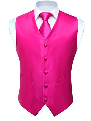 Hot Pink Vest Set - HISDERN 3pc Men's Solid Color Woven Dress Waistcoat & Necktie and Pocket Square Vest Suit Tuxedo Set Hot Pink