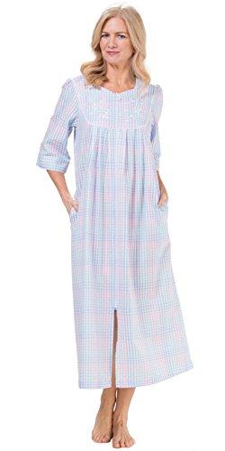 Miss Elaine Seersucker - Miss Elaine Women's Plaid Seersucker Long Zippe Robe, Pink/Blue, Medium